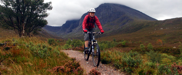 Coaching bike skills below Ben Nevis